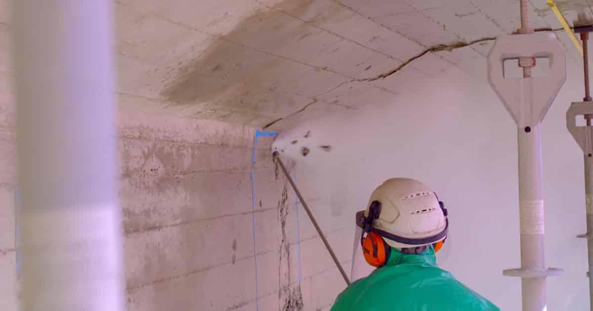 Hydrodémolition sur mur